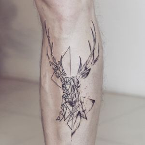 Geometric deer tattoo - Tattoo Chiang Mai                                                                      #geometric #natethailand #abstract #art #linework #Black #dark #ChiangMai #thailand #Tattoodo #blackworktattoo #btattooing #inked #tattoochiangmai #tattooartistchiangmai #tattoostudiochiangmai #fineline #deertattoo #onlyblackart #blackworktattoo #tattoooftheday