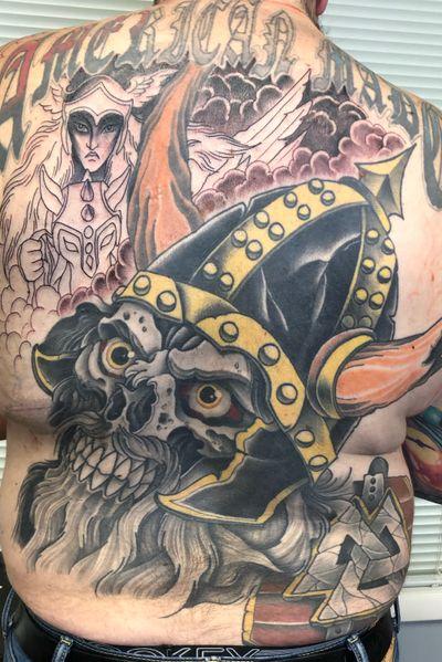 #backpiece On Tom.#wip #skull #skulltattoo #viking #valkyrie #norse