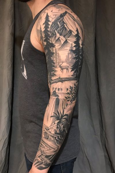 #trees #landscape #mountains #mountain #elk #fish #waterfall #DarcyNutt #chalicetattoo