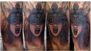 Native american woman #fighter #nativeamerican #noemikovacstattoo #Indianwomantattoo