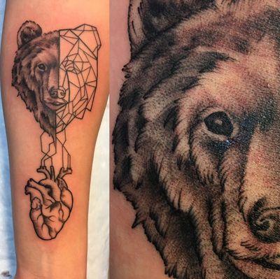 Bear and geometric bear and heart #beartattoo #bear #blackandgrey #fineline #geometric #heart #dotwork