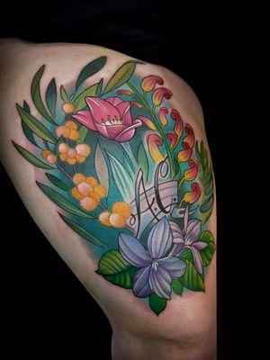 #tattoo #tattoos #tattoodesign #tattoodrawing #sketch #illustration #illustrativetattoo #drawing #drawingfortattoo #jackdouglas #jdtattoo #neotrad #neotradsub #neotraditional #neotraditionaltattoo #australia #australiana #australiannative #grevillea #tulip #wattle #acacia #violet #australianflora #flowertattoo #flower #flowers #floraltattoo #bouquet #botanicaltattoo #botanical