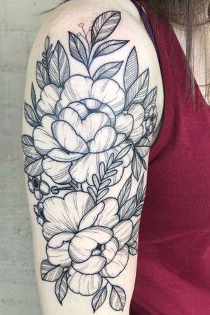 Floral half sleeve. #floral#floraltattoo#lasvegas#lasvegastattooartist#mta#peony#peonytattoo#cherryblossoms