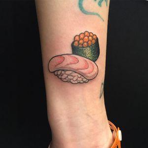 Tattoo by Wendy Pham #WendyPham #sushitattoos #sushitattoo #sushi #Japanese #foodtattoo #food #fish #seafood