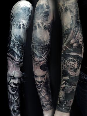 #alien #predator #freaddykrueger #it #Pennywise #Prometheus #sleeve #dark #horror #movie