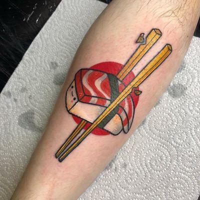 Tattoo by Matt Daniels #MattDaniels #sushitattoos #sushitattoo #sushi #Japanese #foodtattoo #food #fish #seafood