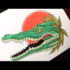 🐊 #crocodile #crocodiletattoo #oldschool #traditional #traditionaltattoo #oldschooltattoo #neotraditional #tattoo #tattoodesign #design