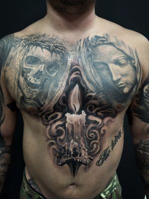 #skull #candle #religious #portrait #realism #blackandgrey #madmamont #chest