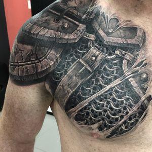 #armor #chesttattoo #fantasy #warrior #blackandgrey #realism #madmamont #bigtattoo