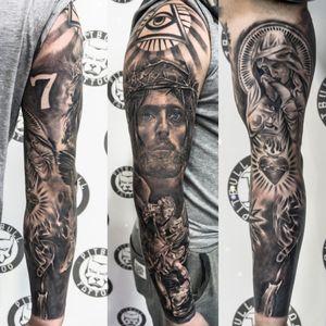 Realistic arm sleeve tattoo. Black & Grey Style. #realistic #realism #blackandgrey #blackandwhite #armsleeve #sleeve #fullsleeve #jesustattoo  #patong #phuket #thailand #jesus