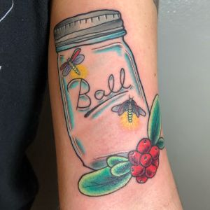 #traditional #neotraditional #masonjar #berries #lightningbug #firefly #fireflies #trad #neotrad #color #nature #colortattoo