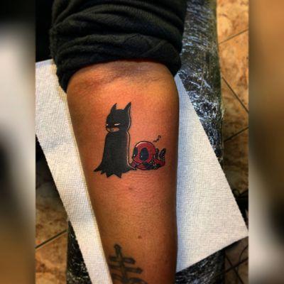 Got to do a super fun & cute tattoo of #batman & #deadpool 🖤🎨🖊 thanks @irenebvg for letting me do this super fun tattoo 🤟🏻 Done in @tattoohabitualistclub #TattzByAG #Ink #Tattoo #Tatuaje #BodyArt #Comics #ComicTattoo #traditional #traditionalart #traditionaltattoo #nyc #nyctattoo #nyctattooartist