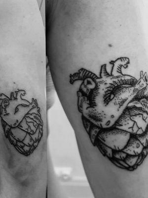 Cœur d'artichaut avant et après retouches 👌 #dotwork #hearts