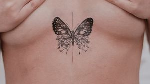 Chest tattoo butterfly