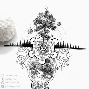 """FREE DOWNLOAD: """"Life"""" tattoo with geometric patterns, tree of life and flower of life. Download the PDF file: www.rawaf.shop/tattoo/basic/ 🔥 Follow me on Instagram for new designs (almost) every day. #dotwork #blackwork #geometric #galaxy #tree #floweroflife #treeoflife #mandala #nature #forest"""