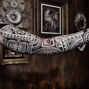 Freehand polynesian marquesian tattoo