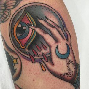 Tattoo by Miss Ariana #MissAriana #tattoodoambassador #color #traditional #moon #eye #hand