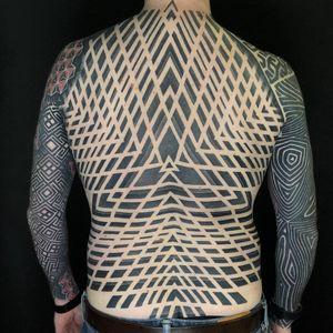 Tattoo by Tamara Lee #TamaraLee #favoritetattoos #favorite #blackandgrey #sacredgeometry #geometric #backpiece #opticalillusion