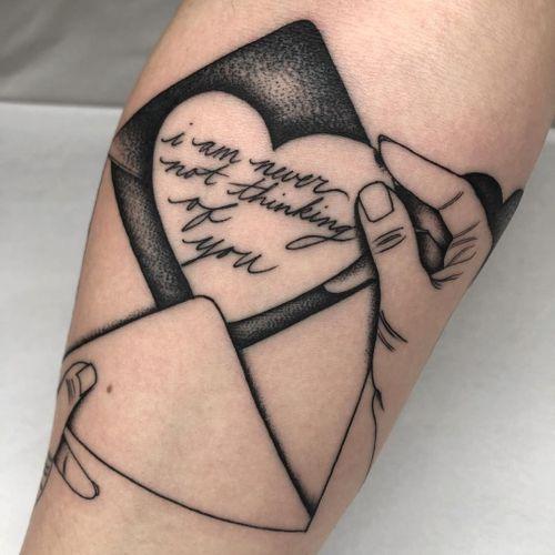 Tattoo by Tine DeFiore #TineDeFiore #tattoodoambassador #illustrative #letter #loveletter #script #font #lettering #envelope #hands