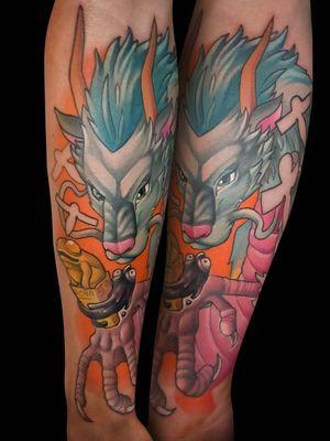 #tattoo #tattoos #art #illustration #illustrativetattoo #jackdouglas #jdtattoo #neotraditionaltattoo #newschool #colourtattoo #colortattoo #newschooltattoo #nerdytattoo #cartoon #cartoontattoo#ghibli #studioghibli #haku #spiritedaway #ghiblitattoo #hayaomiyazaki #anime #animetattoo #manga #mangatattoo