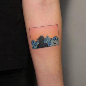 Tattoo by Yar Put #YarPut #favoritetattoos #favorite #stickandpoke #handpoke #color #mountains #landscape #portrait