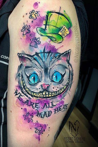 🎩CHESHIRE😺 Personaje estilo boceto/acuarela para Rocío!! Muchas gracias una vez más!! 😊👏 - - - #tattoo #tinta #tatuar #tatuado #tatuaje #tattooed #art #artist #artista #arte #fuenlabrada #leganes #watercolortattoo #watercolor #watercolour #disney #ink #inked #mostoles #alcorcon #cheshire #tatuajeacuarela #cheshiretattoo #freak #watercolortattoo #getafe #aliceinwonderland #sketch #sketchtattoo #disneytattoo #wonderland