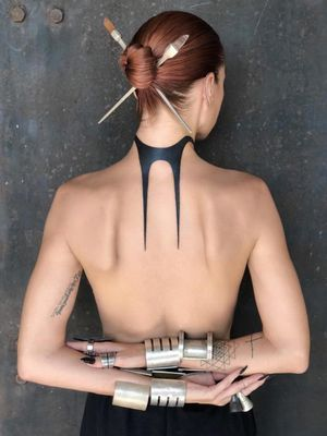 Tattoo by Helen Hitori #HelenHitori #favoritetattoos #favorite #blackwork #neotribal #tribal #necktattoo #backpiece #abstract