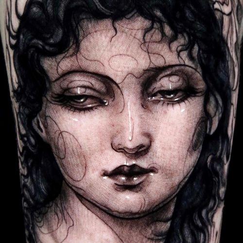 Tattoo by Aimee Cornwell #AimeeCornwell #tattoodoambassador #portrait #ladyhead #blackandgrey #woman #face #beautiful