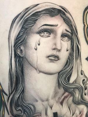 Tattoo by Valerie Vargas #ValerieVargas #tattoodoambassador #blackandgrey #virginmary #portrait #ladyhead #tears