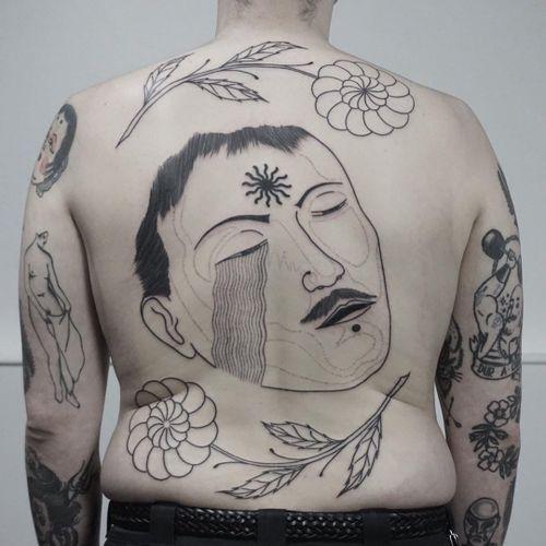 Tattoo by Nicobone #Nicobone #favoritetattoos #favorite #illustrative #linework #dotwork #portrait #backpiece #flower #floral #nature #deathmask #surreal #abstract