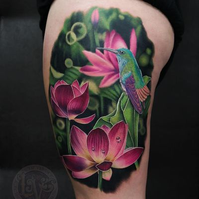 Tattoo by Liz Venom #LizVenom #tattoodoambassador #color #realism #realistic #photorealism #hyperrealism #lotus #flower #nature #floral #hummingbird #bird #animal