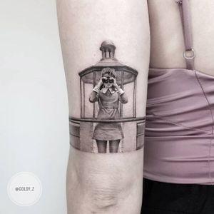 Tattoo by Goldy Z #GoldyZ #movietattoos #movies #famous #actors #actress #blackandgrey #realism #realistic #hyperrealism #moonrisekingdom #lighthouse #wesanderson