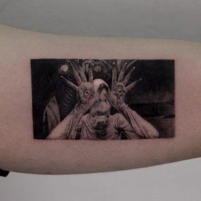 Tattoo by Jojo Nium #Jojonium #movietattoos #movies #famous #actors #panslabrynth #blackandgrey #demon #monster #eyetattoo #realism #realistic #hyperrealism #guillermodeltoro