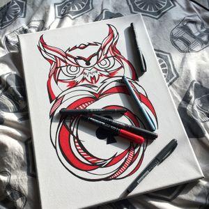 #owl #sketch #liner #animal