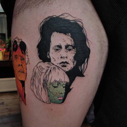 Tattoo by Lara aka 90sdolphintattoo #Lara #90sdolphintattoo #movietattoos #movies #famous #actors #actress #illustrative #edwardscissorhands #johnnydepp #winonaryder