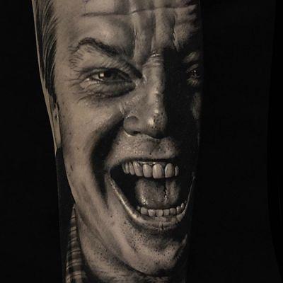 Tattoo by Coreh Lopez #CorahLopez #movietattoos #movies #famous #actors #blackandgrey #theshining #JackNicholson #portrait #realism #realistic #Hyperrealism