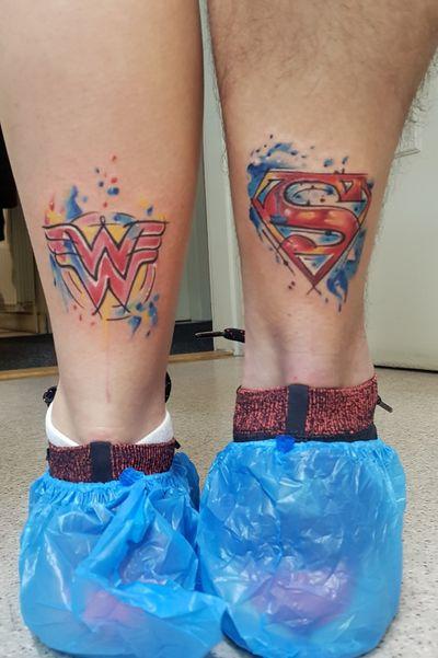 Wonder Woman & Superman Watercolor Couple Tattoo #superman #supermantattoo #watercolortattoo #coupletattoo #xenotattooink #croatiantattooartist #zagreb #croatia