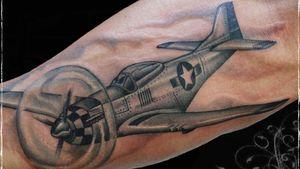 Tattoo by Chad Clark. #planetattoo #bombertattoo #floridatattooartist #capecoral #tophatclassictattoo #blackandgrey #realism