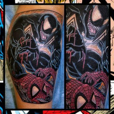 Venom vs Spider Man... #inkfusion #inkfusionempire #geektattoo #geekedouttattoos #geeksterink #geekytattoos #comicbooktattoo #nerdytattoos #nerdtattoo #nerdtattoos #brightandbold #traditionaltattoo #realtattoos #realtraditional #tattoos #tattooflash #neotraditional #solidtattoo #lasvegastattooer #marvelcomics #marveltattoo #venom #venomtattoo #spiderman #spidermantattoo