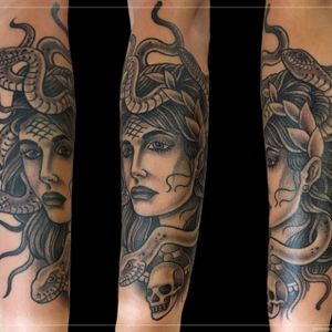 Tattoo by Chad Clark. #traditional blackandgrey #floridatattooartist #capecoral #tophatclassictattoo #medusa #medusatattoo #blackandgreytattoo
