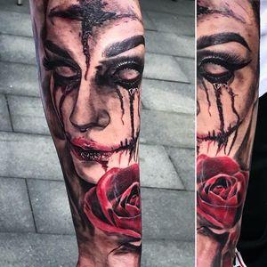 Zombie realistic tattoo