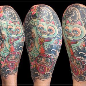 Tattoo by Chad Clark. #traditional #japanese #floridatattooartist #capecoral #tophatclassictattoo #luckykitty #luckytattoo