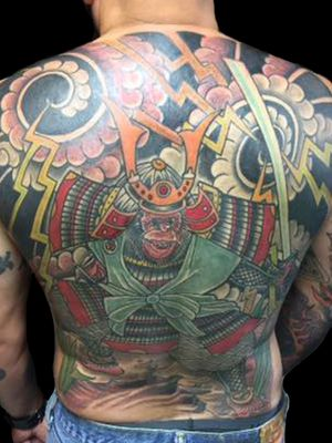 Tattoo by Chad Clark. #monkeyonmyback #backpiece #japanese #floridatattooartist #capecoral #tophatclassictattoo #colortattoo #traditional #traditionaltattoo