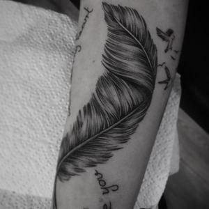 Dotwork feather tattoo