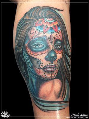 Tattoo by Chad Clark. #sugarskull #sugarskulltattoo #diadelosmuertos #floridatattooartist #capecoral #tophatclassictattoo #colortattoo #realism