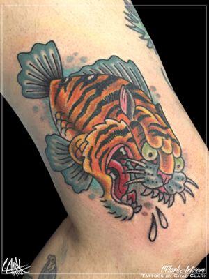 Tattoo by Chad Clark.  #tigertattoo #tigerfish #floridatattooartist #capecoral  #tophatclassictattoo #traditionaltattoo #traditional #colortattoo