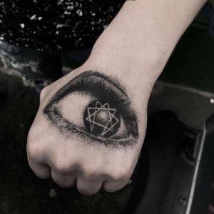 Healed dotwork tattoo