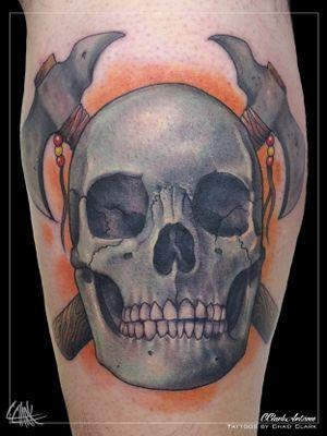 Tattoo by Chad Clark. #skulltattoo #skull #floridatattooartist #capecoral #tophatclassictattoo #colortattoo #realism