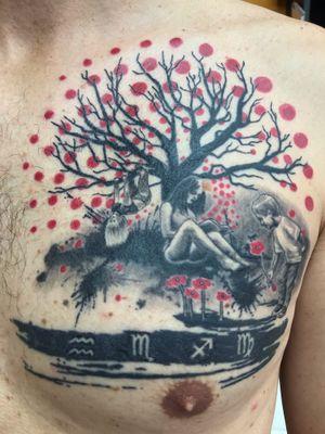 Healed family themed trash polka tattoo