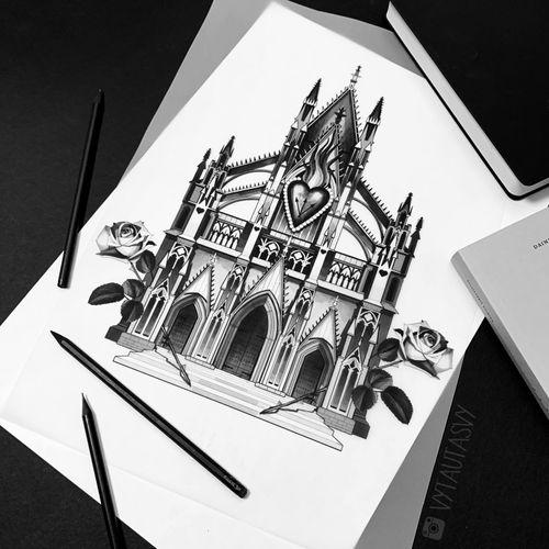 #Tattoodo #tattoosketch #Flash #tattooidea #church #architecture